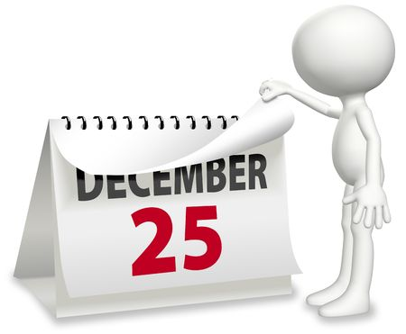calendar page: A cartoon character turns a calendar page to change to DECEMBER 25 Christmas day.