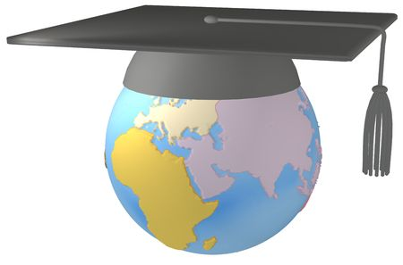 education concept: Mortarboard Graduation Cap on Earth symbol of worldwide education