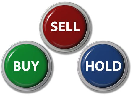 Click on BUY SELL HOLD financial buttons stock investment icons