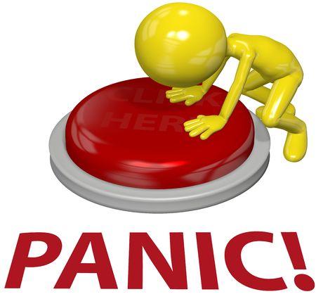 Angst: Ein 3D Gesch�ftsmann mit einem Problem schiebt letztes Mittel PANIC button