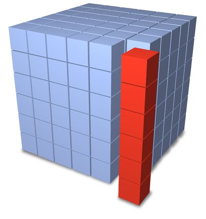 six objects: A red stack of six abstract 3D boxes separate from a blue matrix block of data cubes.
