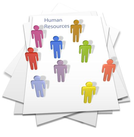 hires: Human resources people hires or temps on a business letter page