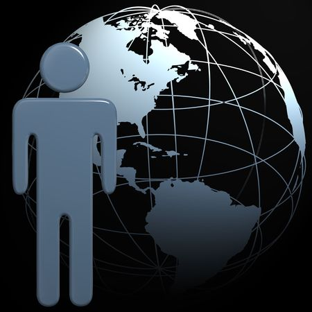 A people symbol in front of a 3D globe Earth on black Banco de Imagens