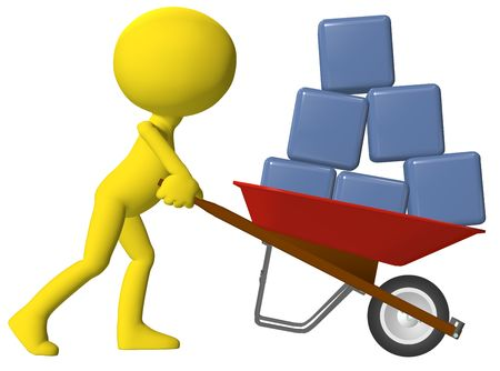 mover: Cartoon person moving transferring data cubes boxes in a red wheelbarrow Stock Photo