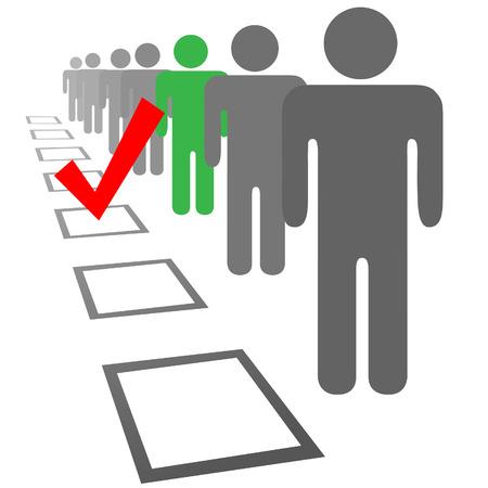 verkiezingen: Kiezen van een persoon uit een lijn van mensen in selectie verkiezing stemming vakken