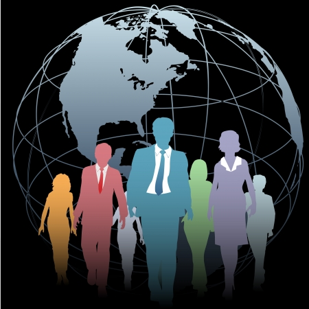 corporation: Global Business People walk from a Western Hemisphere globe on black Illustration