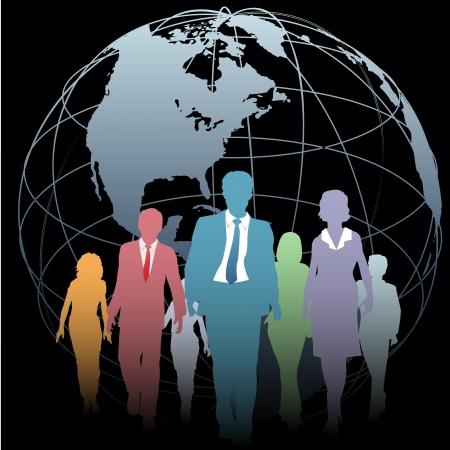 Global Business People walk from a Western Hemisphere globe on black Illustration