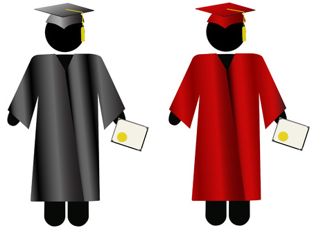 The Graduate: Symbol people in black or crimson mortar board Cap & Gown, for school graduation.