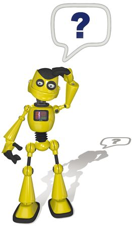 searches: A Robot asks a question in a cartoon speech bubble searches to find help