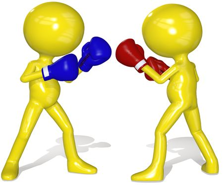 contender: Two boxers square off in a championship boxing match prize fight. Stock Photo