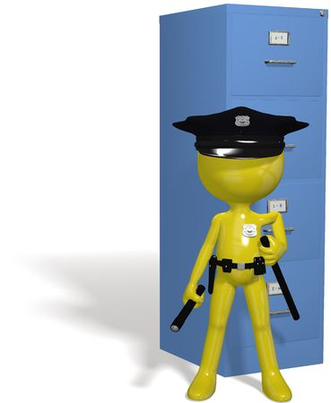 security symbol: A data security guard protects filing cabinet files from hackers and computer viruses
