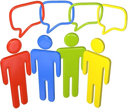 People in colors talk social media in 3D speech bubbles linked in a chain Stock Photo - 8002531
