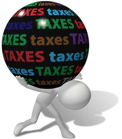 taxes: Luchas de contribuyente bajo el peso de una gran carga injusta de impuestos elevados  Foto de archivo