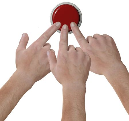 website buttons: Three hand fingers choose a red click push button icon in a 3D render