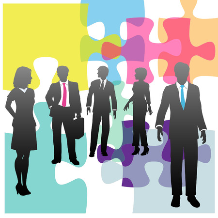 Jigsaw puzzle and business people as complex human resources problem or solution
