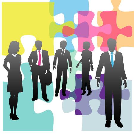 Rompecabezas y gente de negocios como el problema de los recursos humanos complejos o solución  Ilustración de vector
