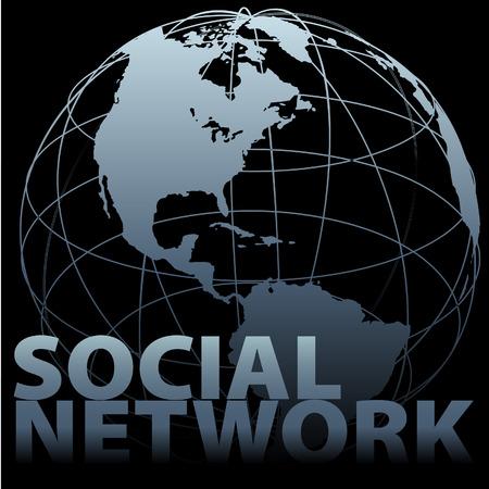 西半球グローバル内側社会的ネットワーク地球グローブ ブラック