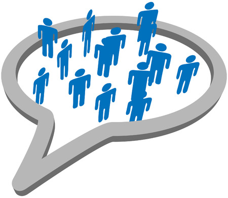 business communication: An inner circle of blue symbol people meet and talk inside a social media network speech bubble.
