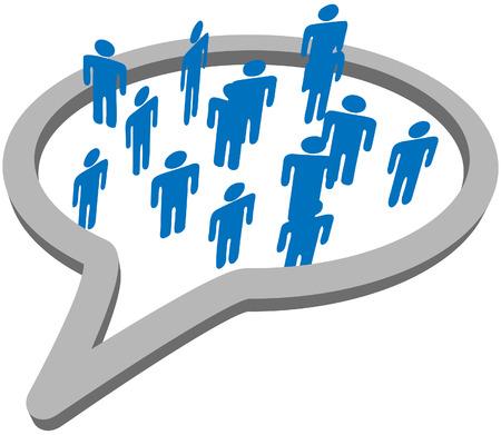 Een binnenste cirkel van blauwe symbool mensen ontmoeten en praten binnen een sociale media net werk tekst ballon.