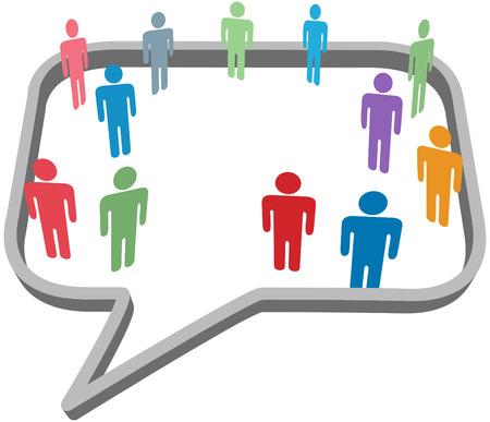 Inner circle business people talk inside a social media network speech bubble Stock Vector - 8002517