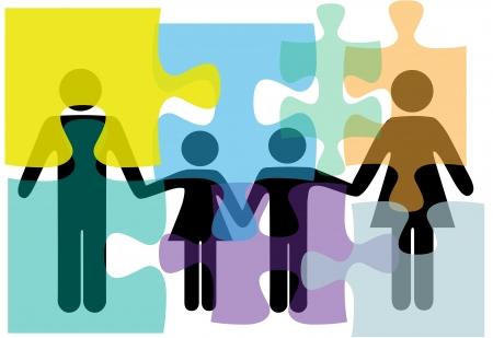 Familie mensen probleem symbolen in counseling van geestelijke gezondheid psychologie abstract in verwarring gebracht.