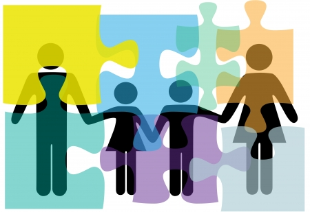 bit: Puzzled family people problem symbols in counseling mental health psychology abstract. Illustration