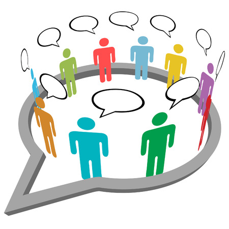 business meeting: Inner circle business people talk meet in a social media network speech bubble