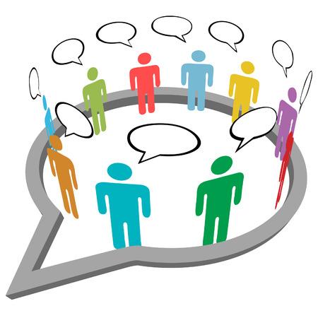 Inner gens d'affaires parlent cercle se rencontrent dans une bulle de médias sociaux parole du réseau Banque d'images - 8002515