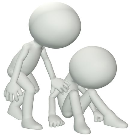 encouraging: A person leans down to console give sympathy to a friend in need of help.