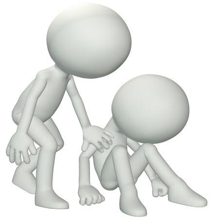 empatia: Una persona se inclina hacia abajo a la simpat�a de dar de consola a un amigo en necesidad de ayuda.