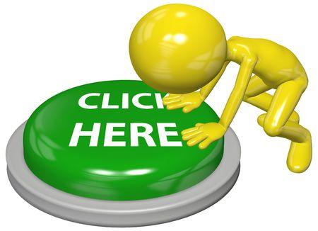 Un personaje 3D por computadora de usuario presiona en un verde haga clic aquí sitio Web botón de vínculo  Foto de archivo
