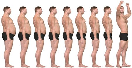weight loss man: A man diets and exercises from fat to fitness in before and after series of 3D renders