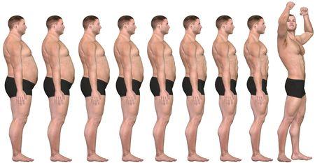 Een man diëten en oefeningen uit vet op fitness in vóór en na serie van 3D maakt