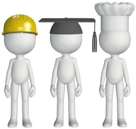 occupation: A group of occupation people Construction chef cook student graduate job hats Stock Photo