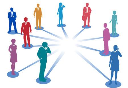 Knoop punten verbinden mensen uit het bedrijfsleven voor net werk verbindingen met kopie ruimte in het midden