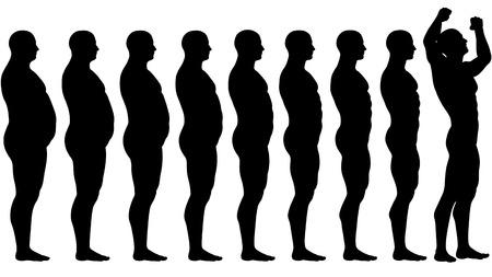 Een man diëten en oefeningen uit vet op fitness in vóór en na serie  Stock Illustratie