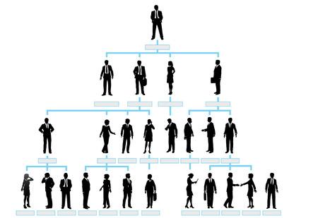 organigrama: Gr�fico de jerarqu�a corporativa de la organizaci�n de una empresa de personas de la silueta.