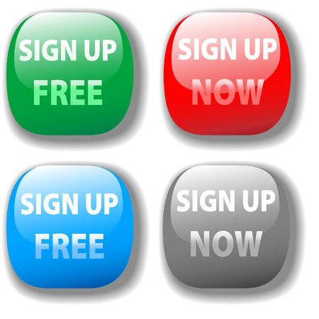 Sign up for free website icon red green gray four button set Vector