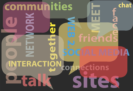word balloon: An abstract background of social media network words bubbles