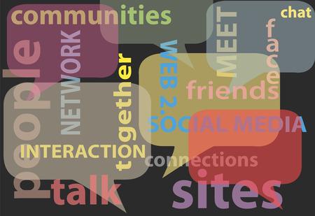 Een abstracte achtergrond van sociale media net werk woorden bubbels