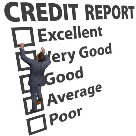 Business man debt consumer works to build up credit score rating report