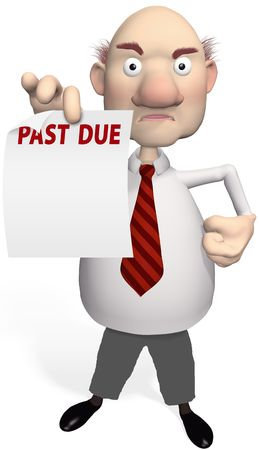 A mean creditor or bill collector holds PAST DUE debt statement from a collection agency photo