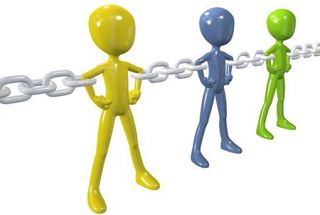 Eslabones de cadena fuerte conectan y unir a un grupo de personas diversas juntas