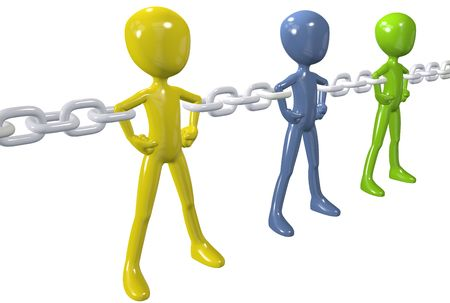 teamwork cartoon: Strong chain links connect and unite a group of diverse people together