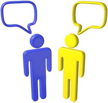 Two social media 3D people talk in speech bubbles