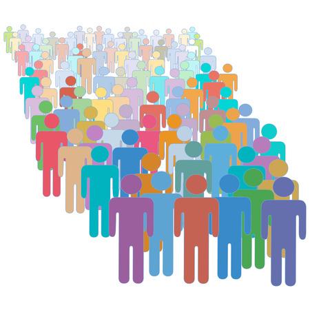 큰 대각선 각도에서 많은 다양한 다채로운 사람들이 군중