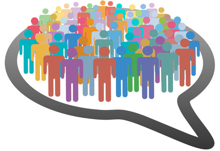 A group of many social media people crowd inside a speech bubble network Vector