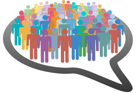 Un grupo de multitud de personas de muchos medios de comunicación social dentro de una red de burbuja de discurso