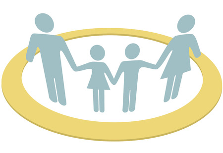 protect family: A family hold hands safe inside a circle symbol of security protection and togetherness