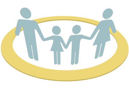 cajas fuertes: Una suspensi�n de familia manos seguras dentro de un s�mbolo de c�rculo de protecci�n de la seguridad y el sentimiento de unidad